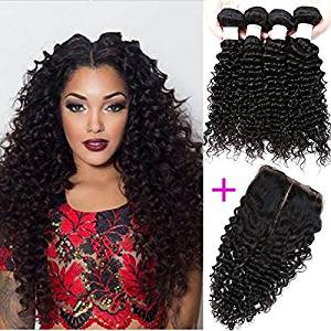 "Passion Beauty Brazilian Virgin Remy Human Hair Extension Weave 4 Bundles With Free Closure - Natural Black,Deep Curly (18""20""22""24""+18""closure)"