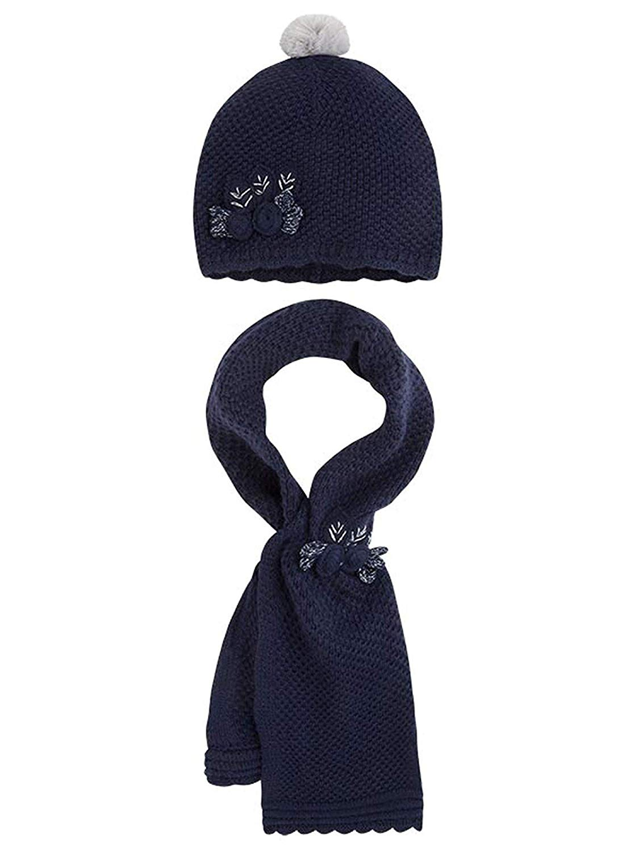 40a447c8529 Get Quotations · Little Girls Flower Applique Angora Blend Knit Hat Scarf  Set
