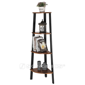 SONGMICS 4-Tier Corner Shelf Rack and Office Organizer Unit Ladder Shaped Bookcase for Home Study Garden Shelf