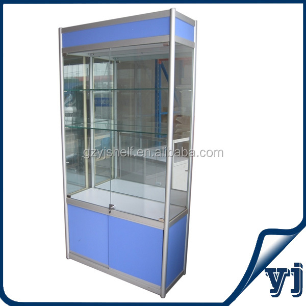 High Quality Mirror Panel Titanium Glass Display Showcase