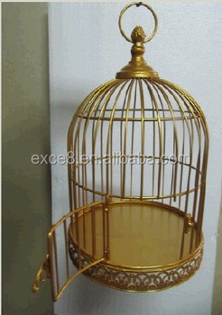 Decorative small round gold metal bird cages buy gold for Petite cage a oiseaux decorative