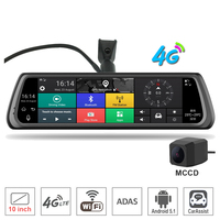 "10"" IPS Full Touch Screen 4G Car Camera DVR Rear view Mirror Android GPS Bluetooth WiFi ADAS Car Aid Dual Lens Dash Cam"
