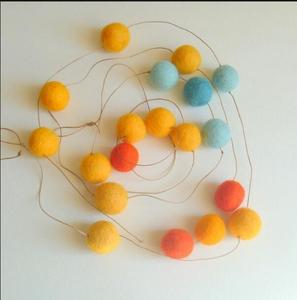 colorful wool felt ball garland for christmas tree decoration