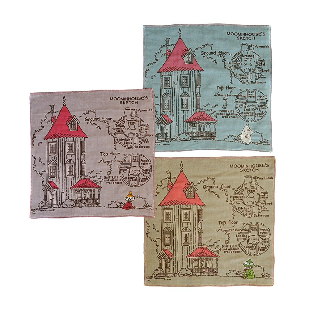 Moomin Valley Moomin's Mansion Triplex Gauze Cotton Handkerchief 11'' Set 3 pcs Imabari Japan