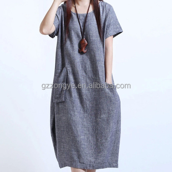 Fashion Dress Plus Size Cotton Linen Adult Summer Dresses - Buy Plus Size  Western Dresses,Plus Size Casual Dress,Plus Size Plain Dress Product on ...