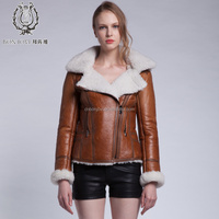 New Brand 2015 Genuine Sheep Fur Jacket For Lady Posh Style Lamb Skin Fur Coat