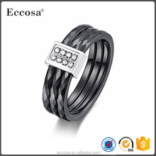 Fashion three-ring tightly wound black ceramic Ring Couple love rings for women and mens Jewelry