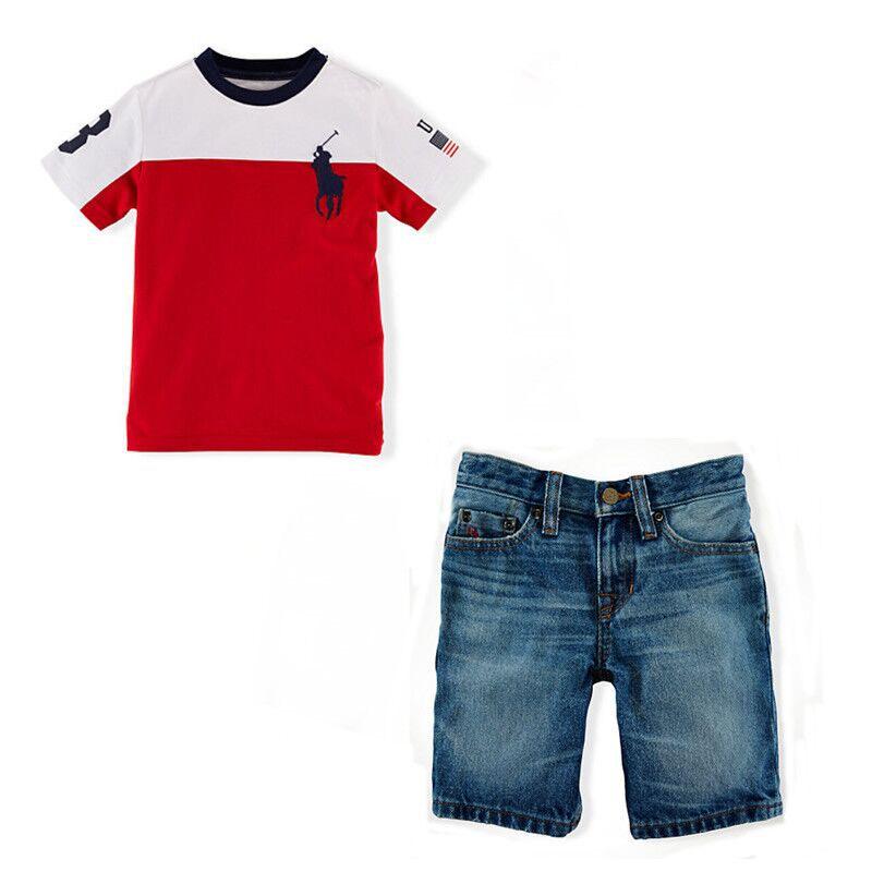 b9822d6f7b6 Get Quotations · 2015 Kids boys Brand clothing sets Embroidery  T-shirt+Denim shorts suit