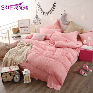 Hotel All Season Natural 100% Polyester 4pcs knitted bedding set bed sheet set