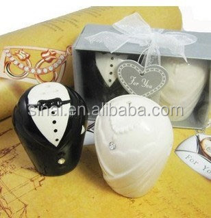 Wedding Favors Ceramic Bride and Groom Salt and Pepper Shakers