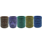 GUANHONG Best selling Embossed Tiki Mug 2oz Ceramic Tiki Shot Glass Drinkware