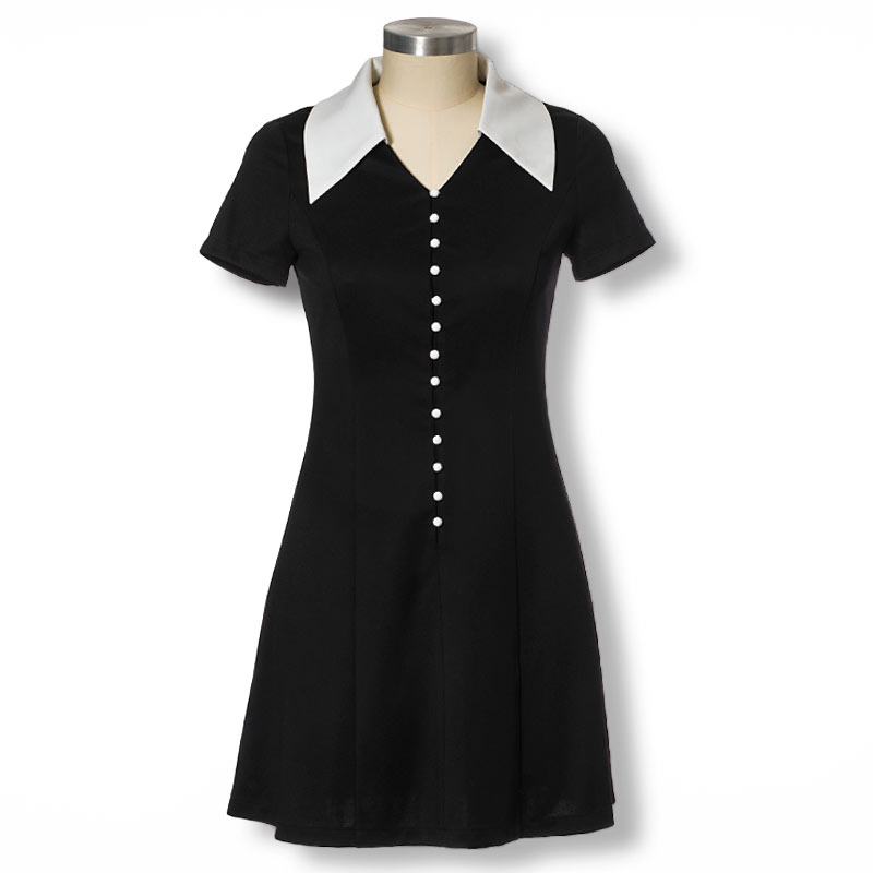 a308e50cad7 Get Quotations · 2015 Fashion Star Style Button Dress Slim Elegant  Turn-down Collar Short Sleeve Black Dresses