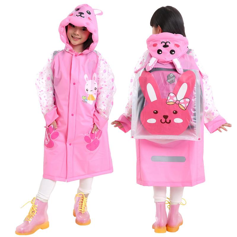 Kids Children Boys Girls Pvc Raincoat Schoolbag Cover Rain Coat, See attached