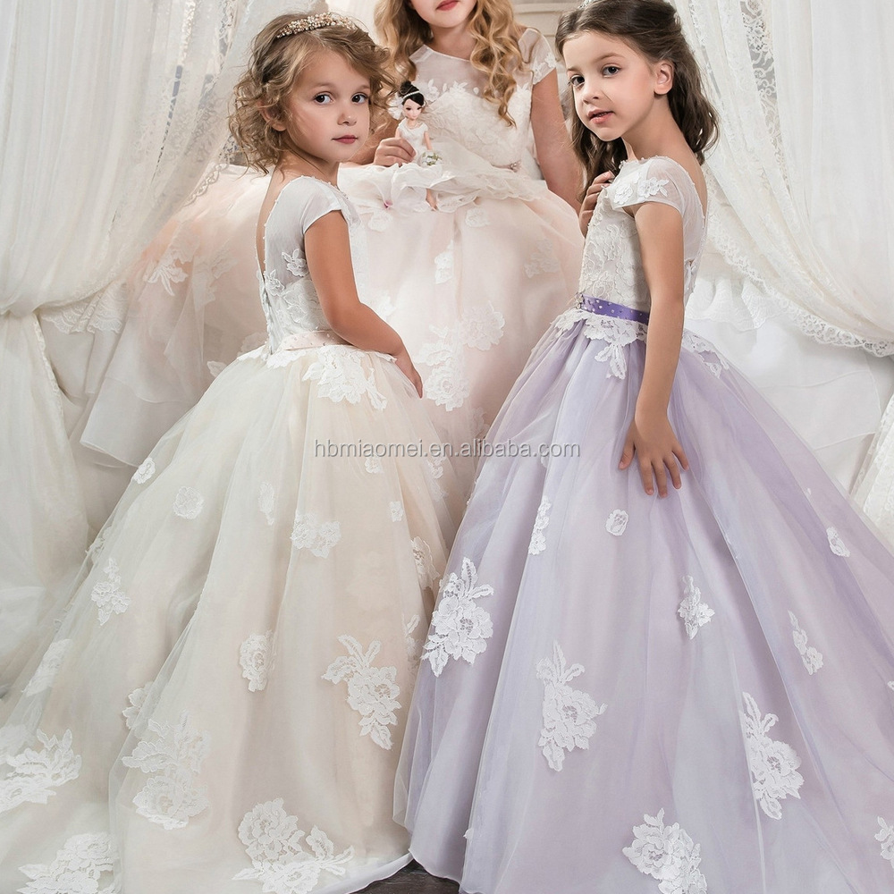 Little Girl Ball Gown Scoop Appliqued Glitz Pageant Floor Length ...