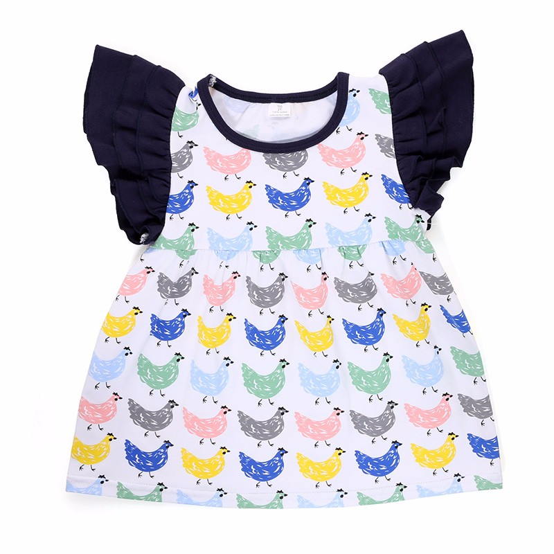 Flutter sleeve boutique toddler children clothes clothing girl cotton top