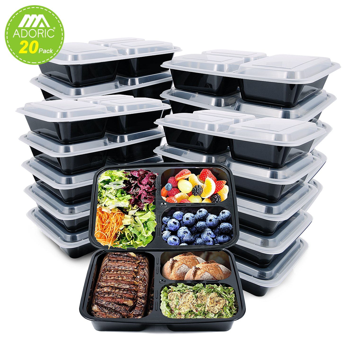 Adoric Storage Bento Box, Meal Prep Containers 3 Compartment(Black)