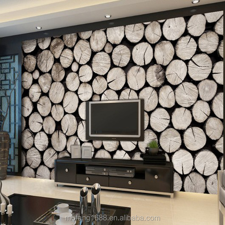 2015 hot sell hotel wallpaper with wood texture mural high quality wallpaper TV background customize