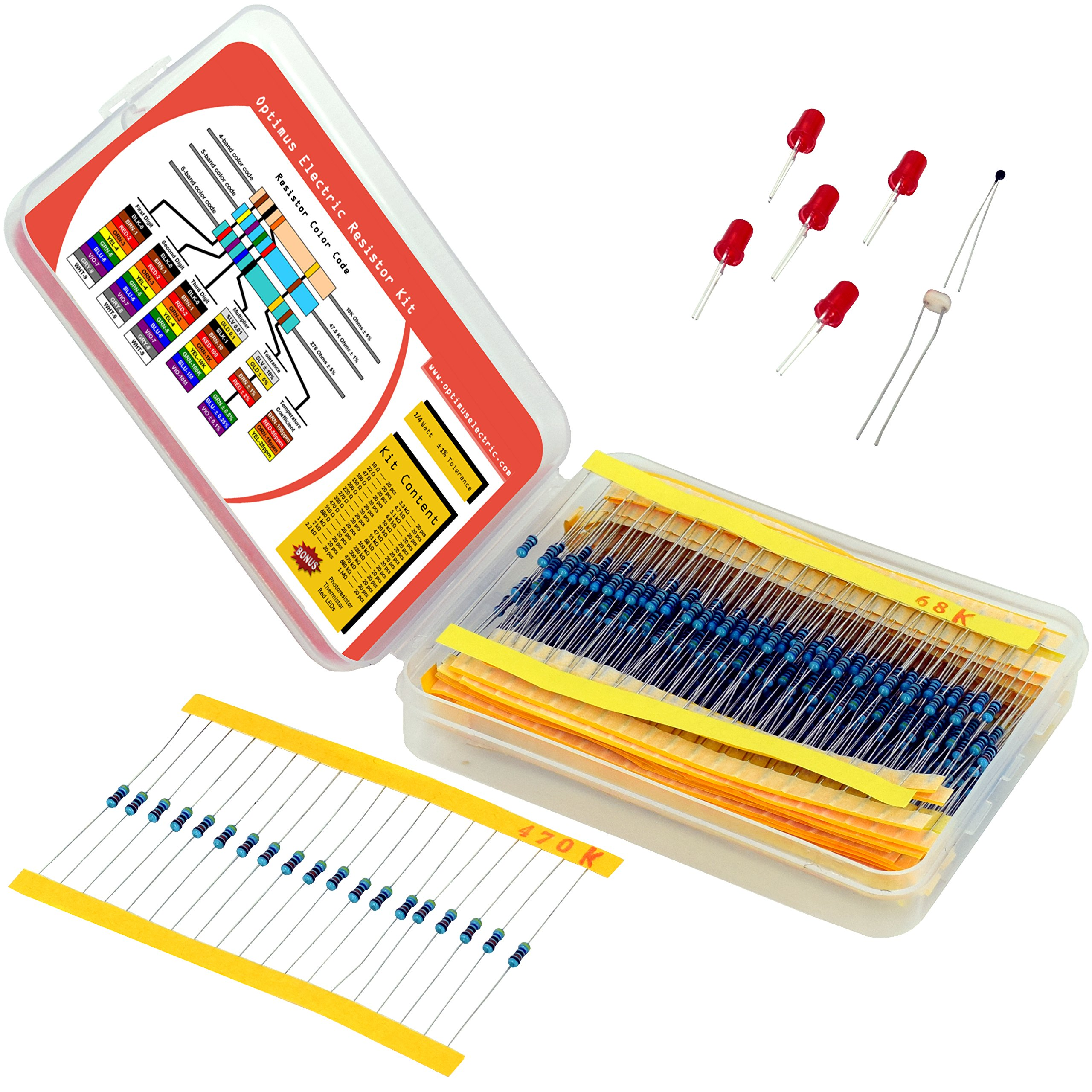 Resistor Assortment Kit - Set of 600 Assorted Resistors from 10 Ω to 1 MΩ in a Box - Metal Film Resistors Variety Pack with 30 Values Plus Thermistor, Photoresistor and 5 LEDs from Optimus Electric