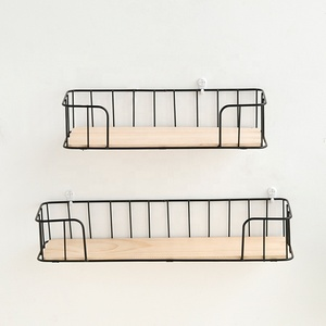 Nordic popular ins hot sales set of 2 rectangle black metal wire wall shelf rack with wood on base for home decor