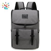 Lightweight Canvas Leather Travel Backpack Rucksack School Bag laptop backpack Daypack for School Working Hiking GRAY