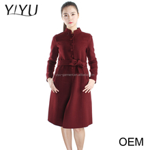2017 OEM Custom-Made women claret cashmere long cardigan sweater winter belted cardigan