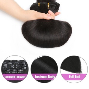 Golden quality 1B color easy apply virgin 32 inch hair extensions clip in tic tac round plastic banana clip hair weft