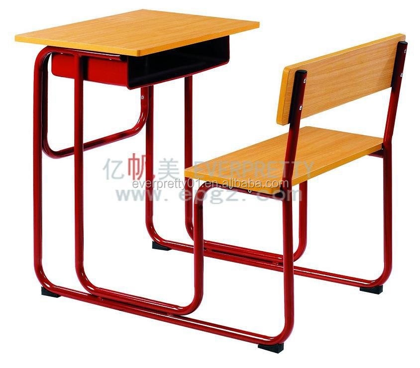 High School Clroom Furniture Mdf Board Single Desk Chairs For India