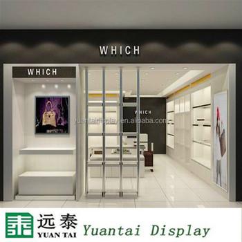Wall Wood Bag Counter Shelf Design For Hanging Bags Display