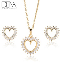 DTINA ladies gold love necklace earrings set transparent gemstone jewelry set