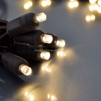 led christmas light string 100 warm white wide angle 5mm concave lights on brown