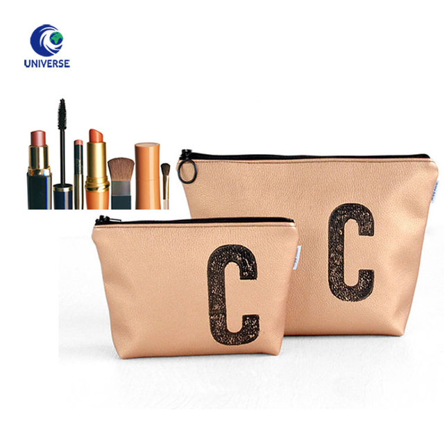 Luxury Waterproof Zipper Travel Organizer Man MakeUp Toiletry Custom Printed Logo Faux Leather Rose Gold Pu Cosmetic Bag