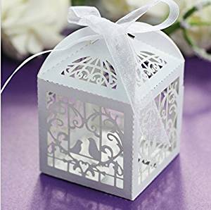 Krismile® 50 Pack White Love Birds Laser Cut Favor Candy Box Bomboniere with Ribbons Bridal Shower Wedding Party Favors/ Laser Cut Candy Gift Boxes With Ribbon Wedding Party Favor Creative Favor Bags