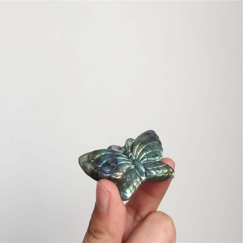 Natural Labradorite Carvings Butterfly Polished Crystal Figurines For Sale