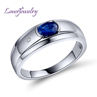 Natural Blue Sapphire Mens Ring Shinning Diamond With Real 18K Gold White/AU750 White Gold WU292