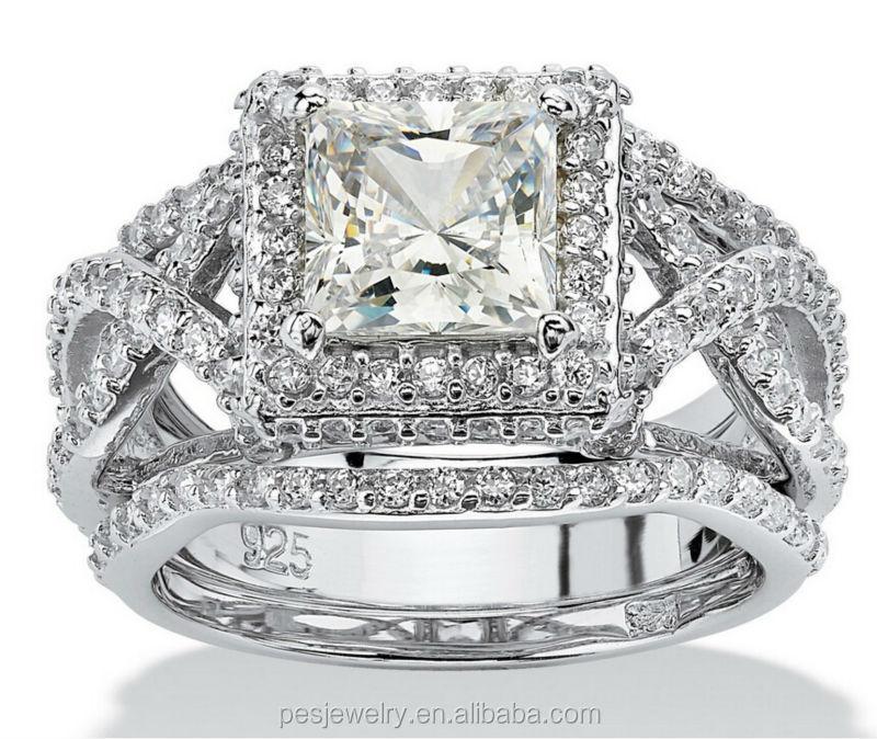 Top Design 3 Piece Princess Cut Aaa Cz Bridal Ring Set Pes6 132