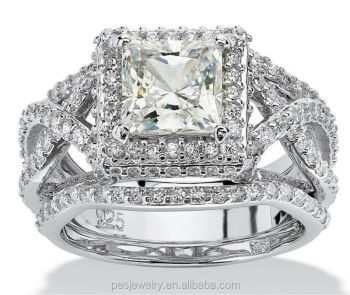 Top Design 3 Piece Princess Cut Aaa Cz Bridal Ring Set pes6132