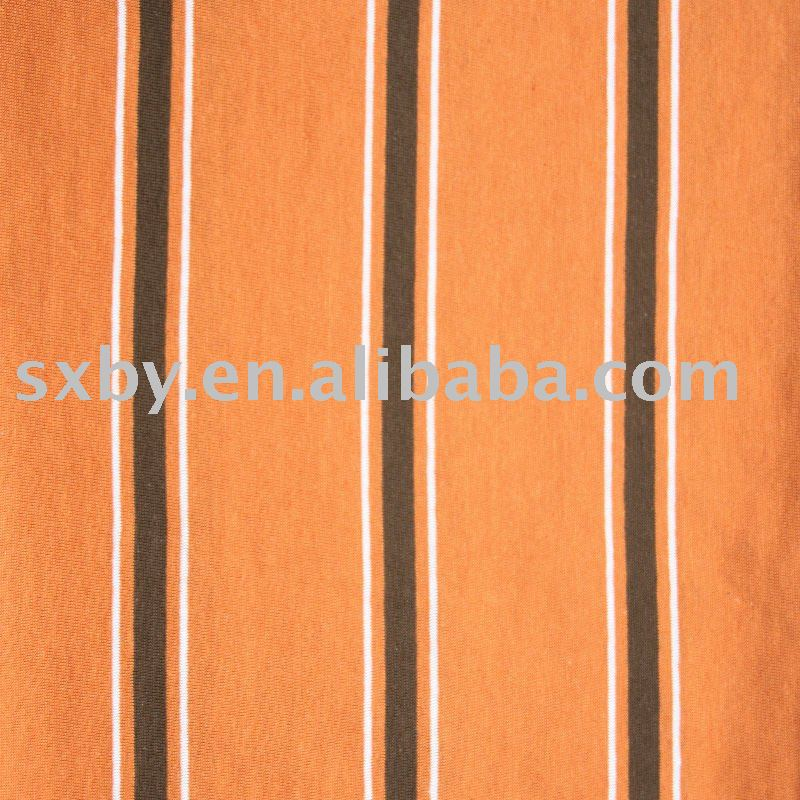 Yarn-dyed stripe large-repeat pattern single jersey fabric with spandex