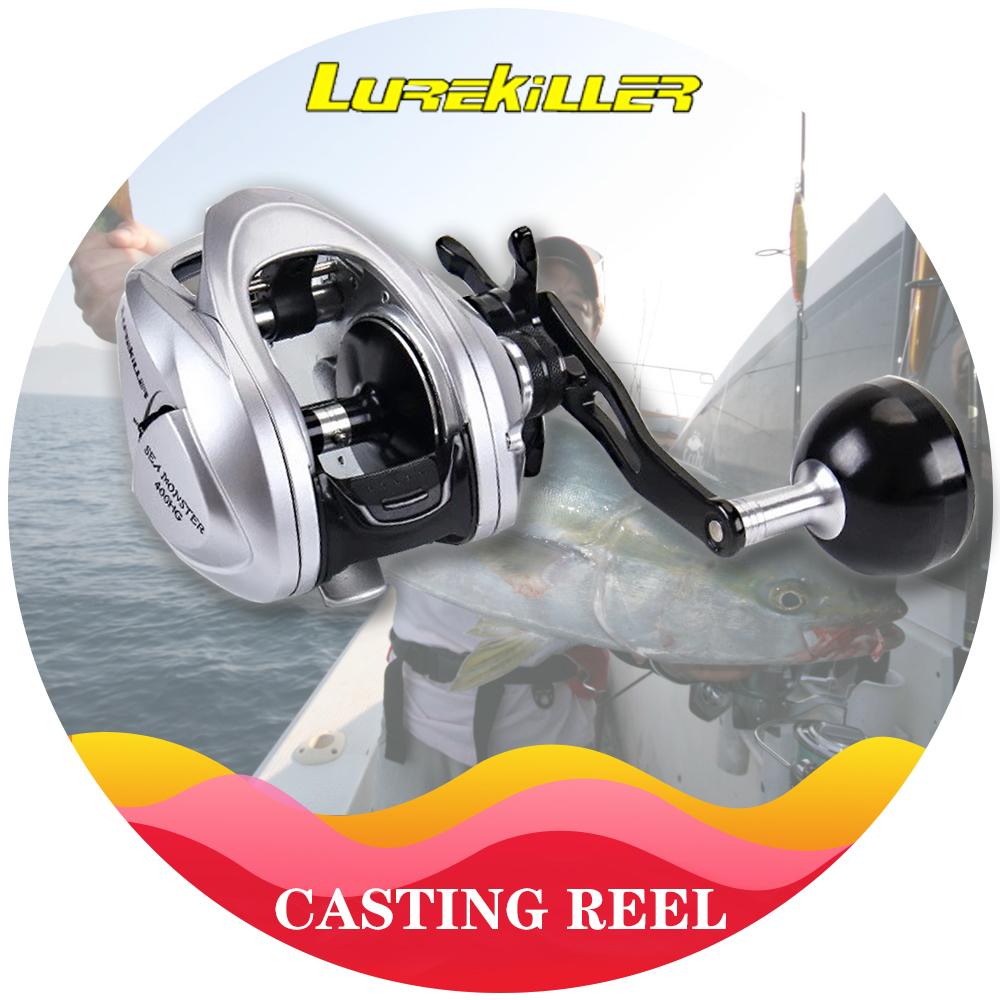 Lurekiller New Slow Jigging Reel low profile casting Reel Double Spools Sea Monster 400HG Boat Reel 12kgs drag, Silver