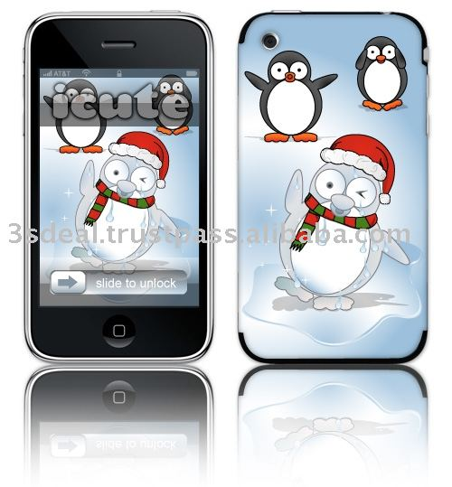 Mobile phone protection skin designed by artist of Legend : Penguin Snowman