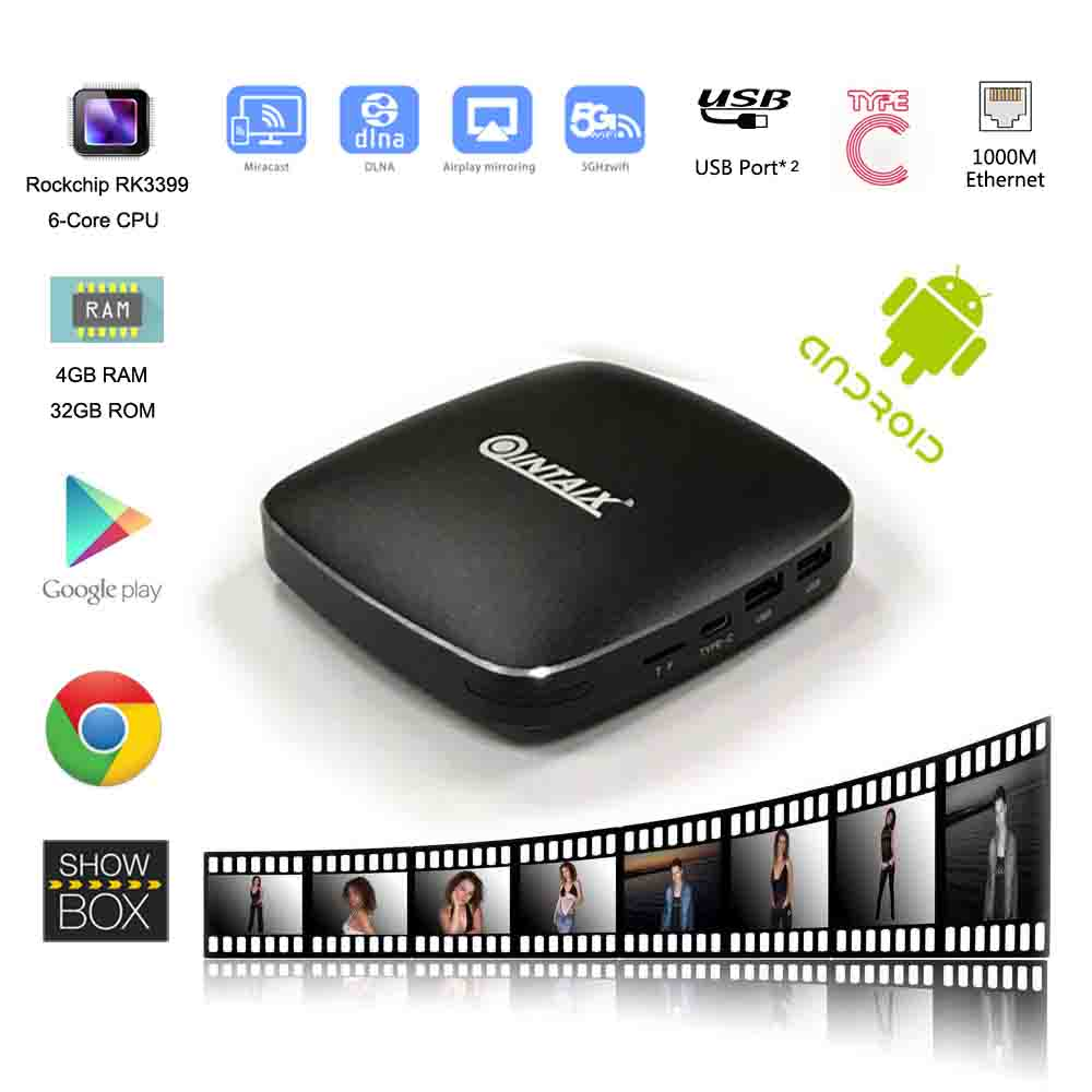 Q39 Rockchip RK3399 android tv box 32gb rom wifi media player 4k tipo di display c a tipo c
