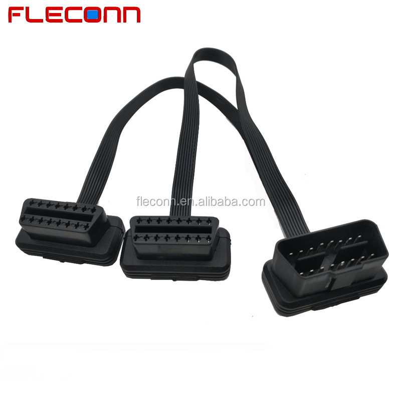 1 Male to 2 Female OBD2 Flat Transfer Y Splitter Extension Cable with 16Pin 16 Pin OBD II Connector