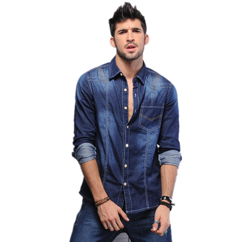 7d2272ec 2015 Spring autumn men denim shirts mens long sleeve casual blue denim  shirts mens jeans camisa