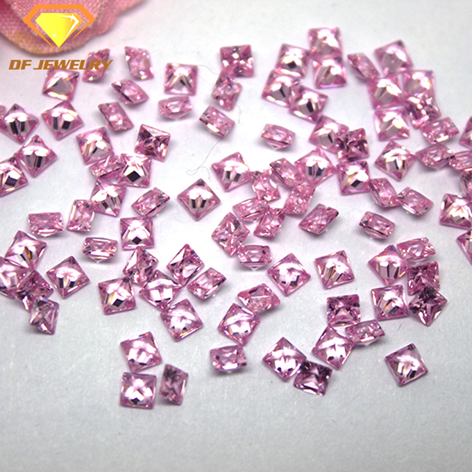 Synthetic CZ Square Cut Pink Gemstone Birthstone