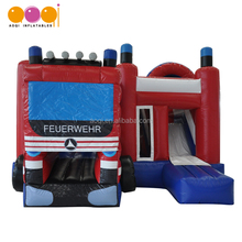 Hot sale jumping bouncer fire truck inflatable combo for kids