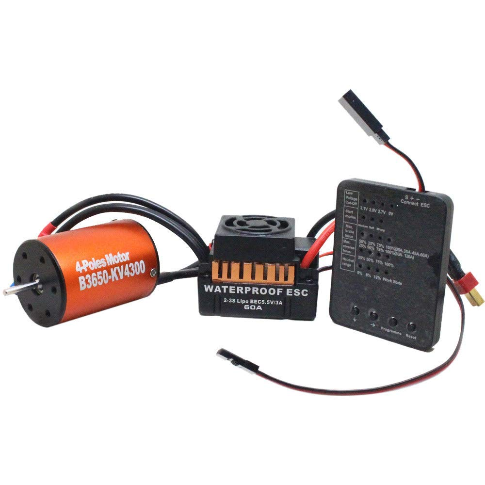 Gbell Waterproof B3650 4300KV Brushless Motor+60A ESC +Program Card Combo for 1/10 RC Car Truck W9M5, RC Car Accessories (C: Motor+60A ESC+Program Card Combo)