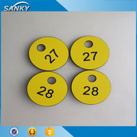 Round plastic numbered coat room check tags