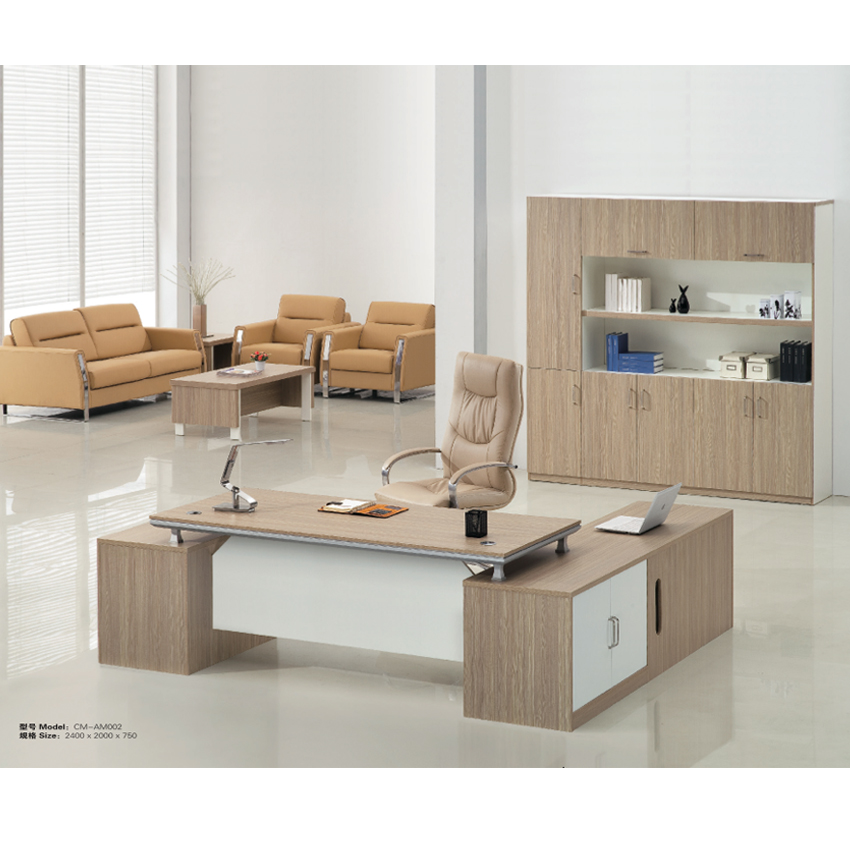 Modern wooden desk set Big boss CEO executive 2.4m office desk