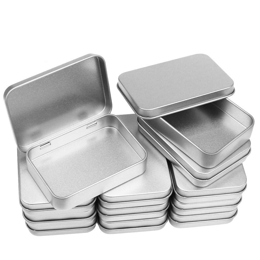 Meetory 12 Pack Rectangular Metal Tins Containers with Lids, Mini Silver Storage Tins, Empty Small Tin Box for Small Gadgets (Hinged and Non-Hinged)