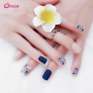 MS06 pre designed artificial nail tips 24 pcs/box dull polish artifical finger nail tips different styles of acrylic nail tips