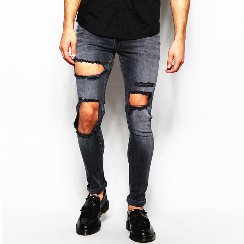 0795f33b narrow jeans Distressed denim man jeans pant with Rip Knee varieties jeans